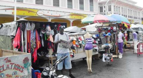 This is a photo of various stalls of street vendors in Georgetown, Guyana.